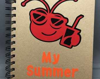 A5 Red and Black Vinyl Cricut Bug With Soda and Shades My Summer Holiday notebook