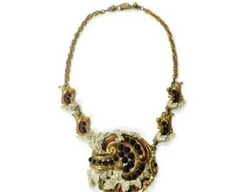 Vintage Empress Eugenie Deep Red Jewelled Necklace
