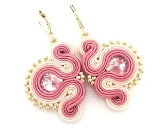 Soutache earrings - pink earrings - gift for girlfriend - gift for wife - wholesale jewelry - wholesale earrings christmas gift for daughter