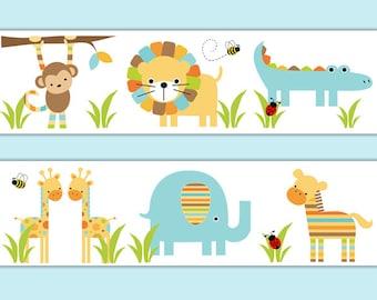 Animal wall art stickers baby shower gift decorations monkey elephant