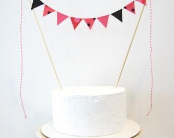 Lady Bug Cake Topper - Fabric Cake Bunting - Wedding, Birthday, Shower Decoration nature party ladybird hot pink black polka dots