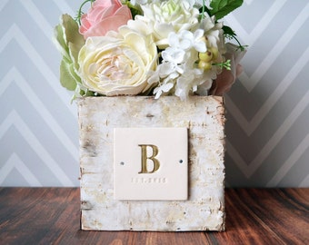 PERSONALIZED Wedding Gift - Square Birch Vase