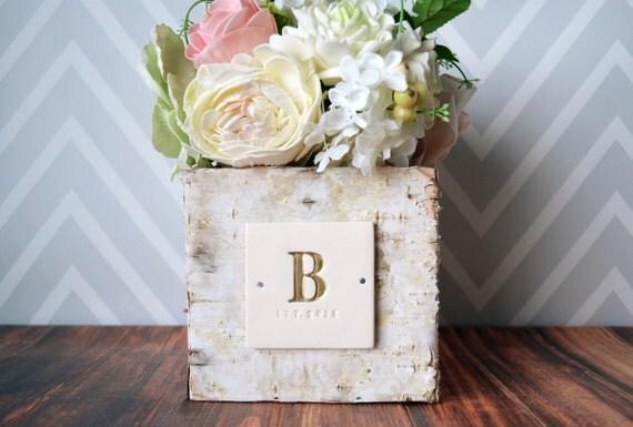 Personalised Vase Wedding Gift : PERSONALIZED Wedding GiftSquare Birch Vase