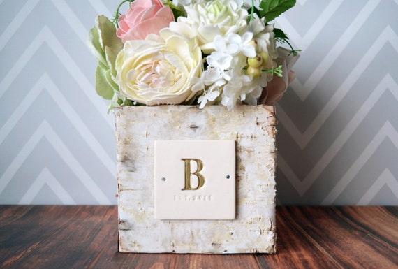 PERSONALIZED Wedding GiftSquare Birch Vase