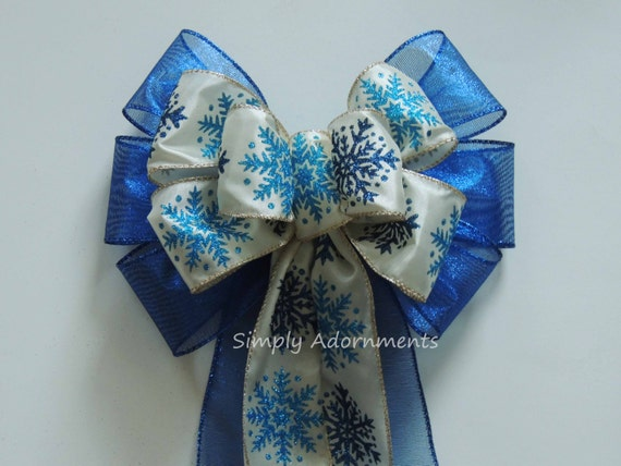 Ivory Blue Snowflakes Wreath Bow Blue Snowflakes Winter Bow Wonderland Wedding Bow Snowflakes Bow Frozen Birthday Party Snowflakes Gifts Bow