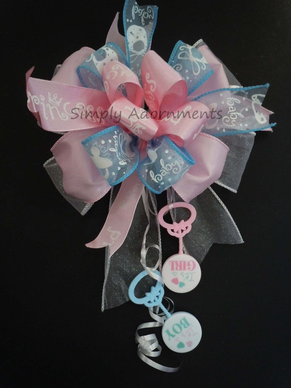 Gender Reveal Decor Bow Boy or Girl Shower Gift Bow Gender Reveal Party Decoration Baby Shower Gift Bow Gender Reveal Gift Bow