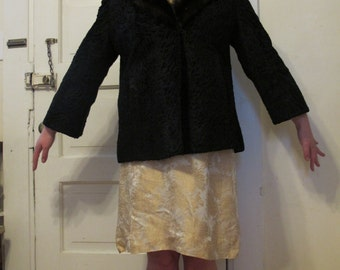 1950s Persian Lamb and Mink Swing Coat by Evans Chicago