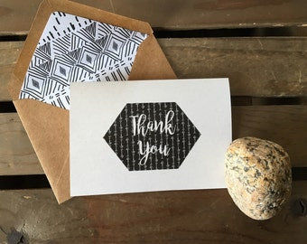 Custom MODERN Note Cards - Thank You - Arrows - Geometrical Hexagon Tribal Aztec - Stationery - Recycled  - Eco - Lined Envelopes - Gift Set