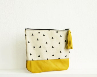 Canvas and Leather clutch, Clutch bag, Yellow, Clutch purse, Cosmetic bag, Pouch, Triangle print, Geometric print