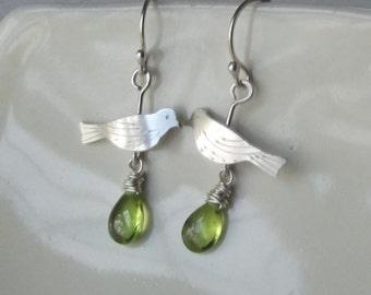 Bird and Peridot Ear Rings