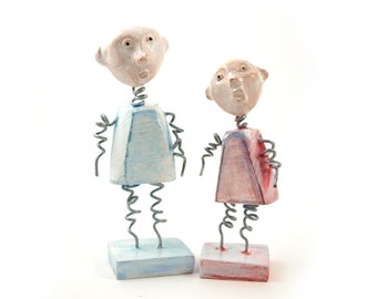 Wire sculpture, He and She, Ceramic sculpture, Miniature sculpture, Gift for couple, Desk accessory, Human sculpture, Cute sculptere