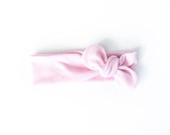valentine's day headband, pink, light pink, baby pink, knot headband, tie headband, top knot head wrap - one size fits all