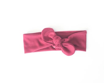 red headband, knot headband, tie headband, top knot head wrap - one size fits all