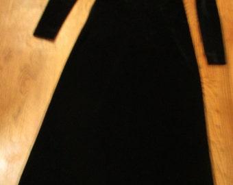 vintage black velvet long party dress, petite Neiman Marcus