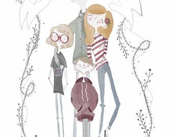 Custom Family Portrait - Watercolor Illustration -