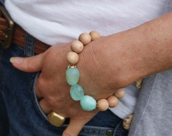 Chalcedony boho stretch bracelet - semi precious and rosewood beads, stacking layering chic by mollymoojewels