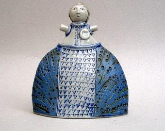 Ceramic Sculpture , Clay Sculpture  ,Woman With A Heart , Girl In A Velasquez Skirt , Blue Dress