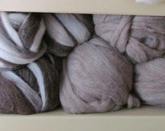 Cormo Roving - Brown & White Swirl (Dark)  4oz