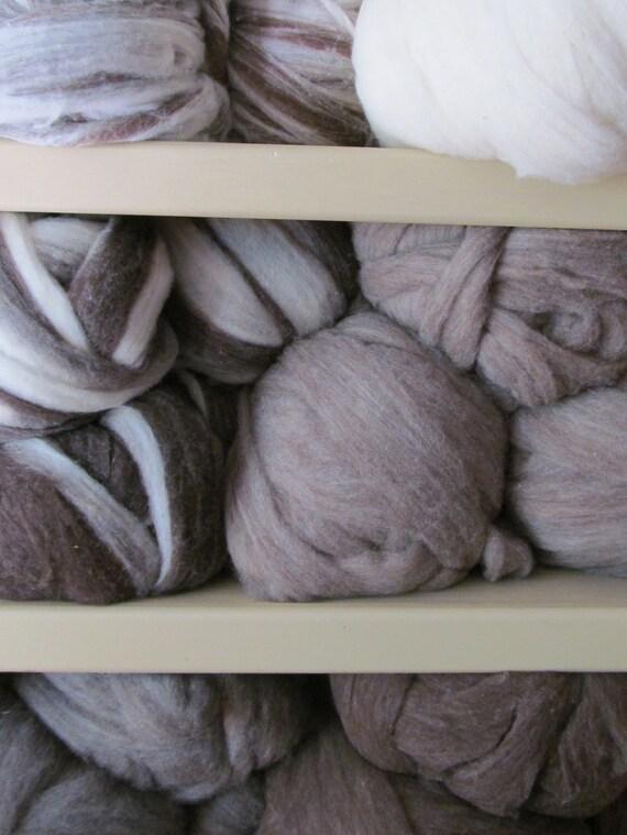 Cormo Roving - Brown & White Swirl (Dark)  1 lb