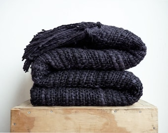 Black Chunky afghan blanket, Minimalist Oversized Blanket, Modern Medieval room decor, Man gift idea