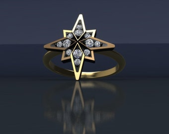 Darkened Northern Star 14K Gold with Diamond Accents
