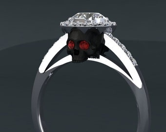 Black Skull with Ruby Eye Diamond Engagement Ring with Halo