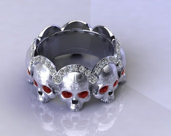 Diamond and Ruby Skull Scalloped Band