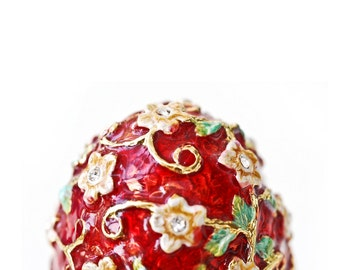 Egg Vintage Trinket Box, Faberge Style Egg, Red & Gold Enamel Decorated Egg Small Box, Collectible Eggs, Egg Art, Collectible Box
