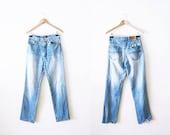 Vintage Lee Jeans / Boyfriend Jeans / Mom Jeans / Distressed Denim / Faded Jeans / High Waisted Jeans / Lee 27