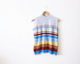 Rainbow Stripe Shirt / Sleeveless Mockneck Top / Grunge / Silk Shirt