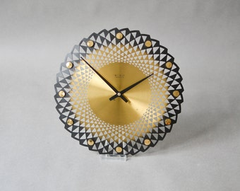 Vintage brass wall clock, Weimar clock, starburst sunburst clock, Mid-Century Modern MCM GDR East German 70