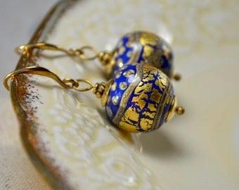 Lampwork Earrings, Blue & Gold Earrings, Artisan Jewelry, Glass Bead Earrings, Dangle Luxe Bauble Earrings, High End Jewelry, Gift for Her