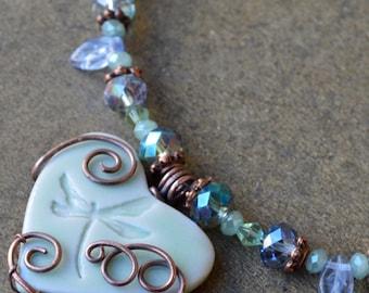 Seafoam Green Dragonfly Heart Necklace