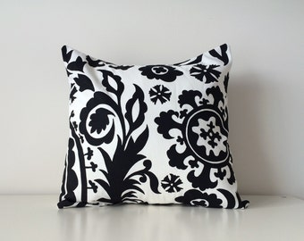Black and White Pillow Cover, Suzani Print, 16x16 Inches, Throw Pillow, Traditional Modern, Pillow, Botanical, Contemporary Cushion Cover