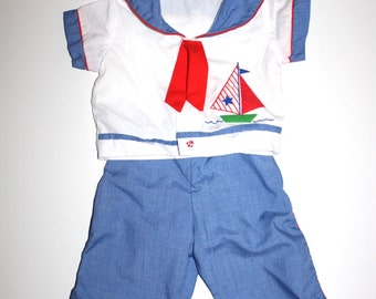 Vintage BABY SAILOR OUTFIT - Sailboat, Matching Pants - Hipster Anchor Newborn Boy