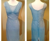 Vintage late 1950s Powder Blue Party Dress - As is - S