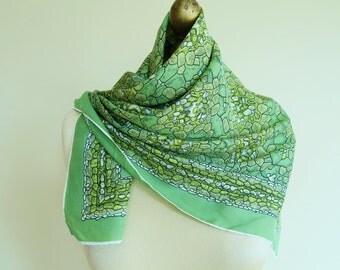 Vintage silk scarf, 1950s silk scarf, 50s fashion, square silk scarf, green scarf, hand rolled, green mosaic, headscarf