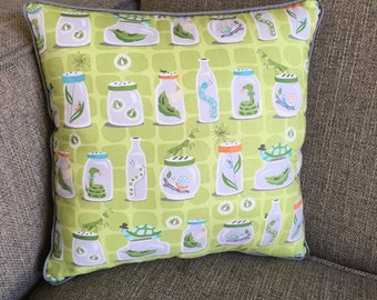 """Bug and Critters in Jars Pillow in Greens, Teals, Gray and Oranges with Striped Backing - """"Collecting Critters Pillow Green"""""""