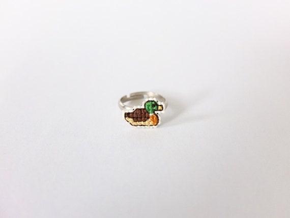 Mallard duck cross stitch ring, embroidery duck, duck ring, embroidery duck ring, gifts under 20
