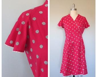 40s cotton wrap dress size medium / 40s novelty print dress / vintage novelty print / vintage day dress