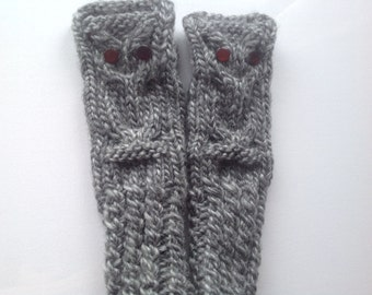 Hand knitted wrist warmers, fingerless owl gloves hand made grey gray