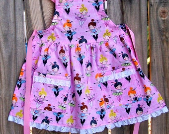 Ballerina Girl Apron with Lace Size 5 to 6