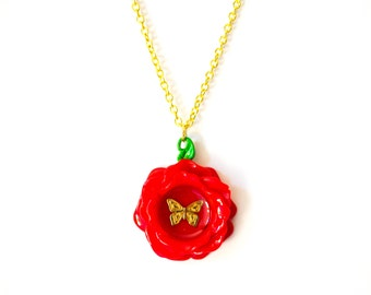 Painting the Roses Red - Acrylic Rose Pendant Necklace with Gold Tone Chain - Alice in Wonderland Inspired