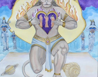 GICLEE ART PRINT Sathya Sai Baba, The Passion of Hanuman