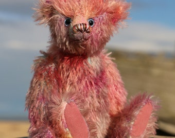 Randall is a charming traditional one of a kind, mohair artist teddy bear made from beautiful hand dyed mohair by Barbara-Ann Bears