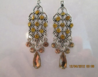 Silver tone Chandelier Earrings with Yellow Rhinestones and Yellow Crystal Bead Dangles
