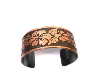 Hibiscus Flower Cuff, Floral Jewelry, Copper Bracelet, Copper Cuff, Etched Copper, Jewelry Gift, Gift for Her, Garden Jewelry, Ready to Ship