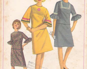 Vintage '60s sewing pattern, Simplicity 6717, two-piece dress, size 12, neatly cut