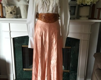 40s 50s Apricot Satin Party Skirt