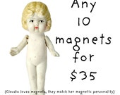 Any 10 Adventures of Claudia Magnets Funny Doll Photography Typographic Magnet Set